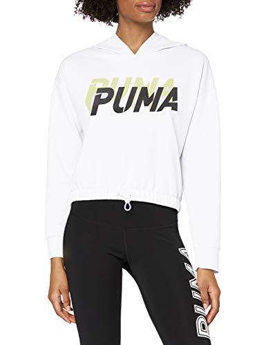 PUMA Modern Sports Hoody Sudadera, Mujer, White-Sunny Lime, XL