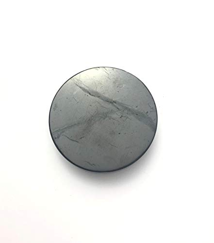 Naturesupplies Schungit-Schutzplatten (20 mm, rund, poliert) Block 5 g Strahlungseinlage in Ihrem iPhone, Samsung, Laptop oder Tablet – Hochwertige Schungitsteine aus Russland – Naturprodukte