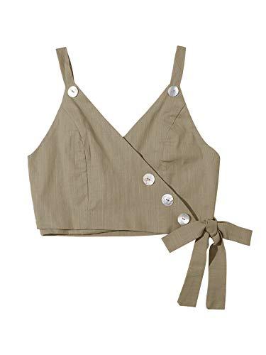 Romwe Women's Tie Hem Wrap Button Detail Crop Top Vest Khaki-1 Meduim