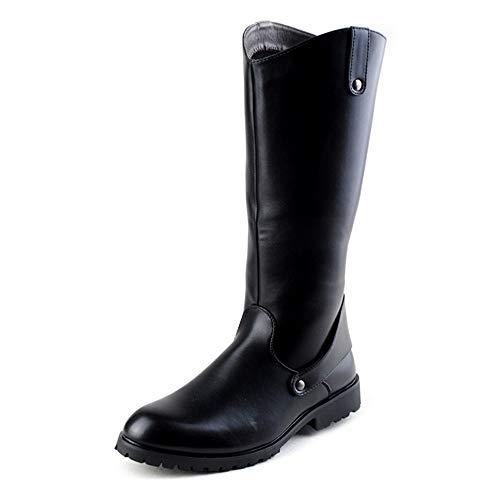 DIBAO Whistle-Wasserkocher für Gaskochfeld Mode Motorrad Stiefel Stiefel oberflächlich Retro Cowboy Stil reiten kniehhöhen Boot (Color : Black, Size : 38 EU)