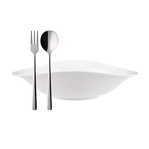 Villeroy & Boch Vapiano Ensemble Italien 6 pièces, 2 Bols à pâtes ovales en Porcelaine Premium, Couverts à Spaghetti Daily Line en INOX, adapté au Lave-Vaisselle, Blanc