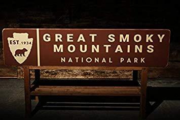 Cartel de madera de 13 x 58 cm, con texto en inglés 'Great Smoky Mountains National Park, rústico, vintage, decoración de país primitivo, hecho a mano 817100