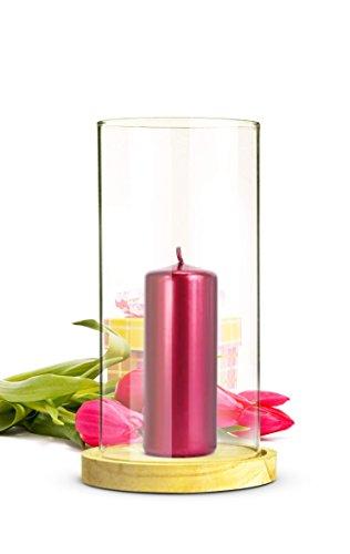 Sendez Windlicht Glaszylinder mit Holzteller Kerzenhalter Tischdeko Kerzenständer Laterne