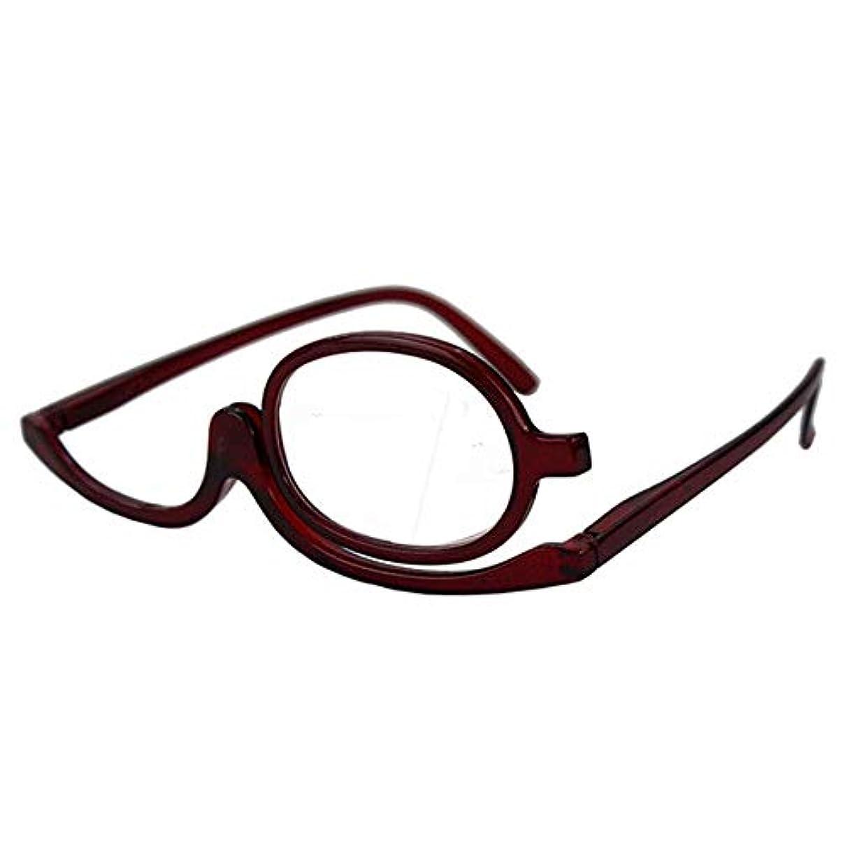 証書理想的にはコットン創造的な回転折りたたみ老眼鏡女性の古い化粧眼鏡老眼鏡400度-ワインレッドフレーム
