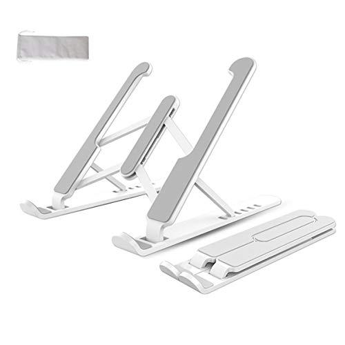 Haosen Soporte plegable portátil para portátil, altura ajustable, soporte para portátil, mesa antideslizante de silicona, apto para ordenador portátil, iPad/tablet de 15,6 pulgadas (gratis, blanco)
