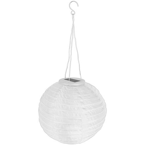 Grundig Solar Lampion Nylon 28cm mit Farbwahl Kugelsolar Beleuchtung Gartenbeleuchtung Kugellampion Solarpanel Gartenparty Deko (Weiß)