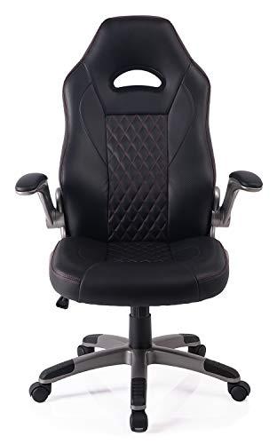 Exofcer Sedia da ufficio con schienale alto curvo in pelle PU per casa, ufficio e ufficio Nero E Rosso