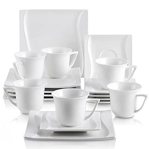 MALACASA, Serie Carina, 18 teilig Set Cremeweiß Porzellan Kaffeeservice Geschirrset Tafelservice mit je 6 Stück Dessertteller, 6 Tasse 200ml mit 6 Untertasse für 6 Personen
