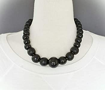 Black Wood Necklace Bead Big Chunky Bead 18-20  Long Necklace Beaded Wooden For Women