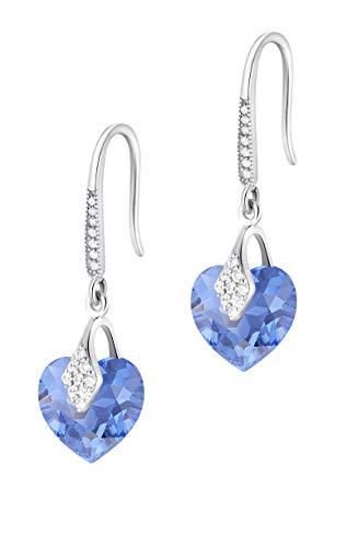 Crystals & Stones – Pendientes con forma de corazón de plata 925 – zafiro – Pendientes con cristales de Swarovski® – Bonitos pendientes para mujer – Fantásticos pendientes con caja de regalo gratis