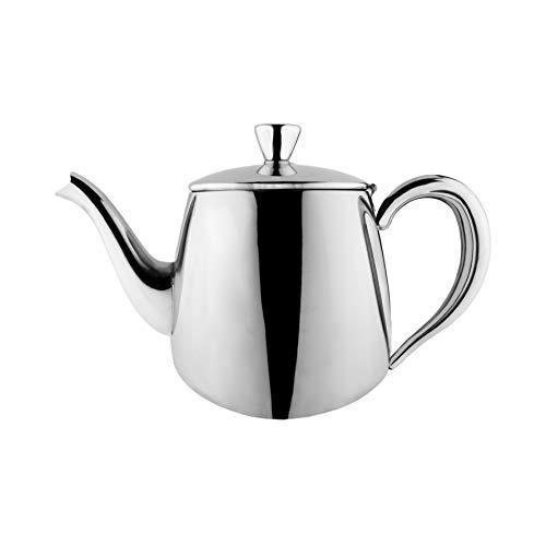 Cafe Ole PT-018 Erstklassige Premium Teekanne, 18/10 Edelstahl, 18 Ounces, Tropffreies Ausgießen, hohle Griffen & Klappdeckel, Silber