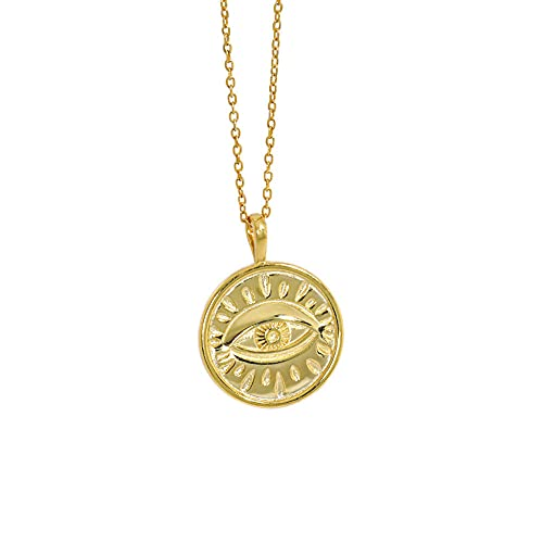 925 monedas geométricas irregulares de plata colgante ojo collar largo cadena regalo de boda rock moda punk fina joya-oro