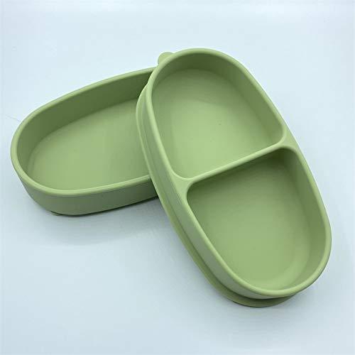 feichang Plato de silicona para alimentación de bebé, con ventosa, antivuelco, para niños, resistente a las caídas, fácil de limpiar la cocina (color: verde)