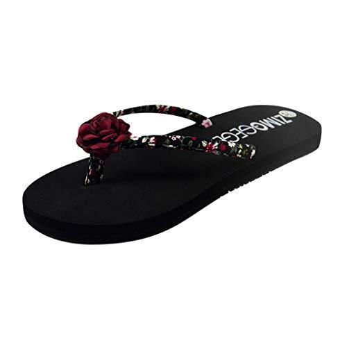 Zapatillas de Playa de Verano para Mujer Zapatillas de Playa con Estampado Floral - Zapatillas con Flip-Flop Sandalias con Puntera Abierta Zuecos de Mujer cómodos y Sabot - Summer Travel Beach