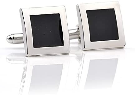 chenfeng Cufflinks Fashion Luxury Men Shirts Cufflins Black Square Buttons Classic Cuff Links Jewelry Gifts (Metal Color : Sliver Black Square)