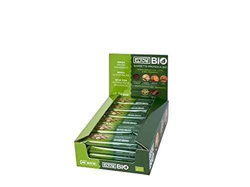 PROLIVE BIO PISTACCHIO, Barretta biologica, Proteica, PURO Cioccolato al Latte con 23% Proteine del Riso, Pistacchio in pezzi (12x40 g)