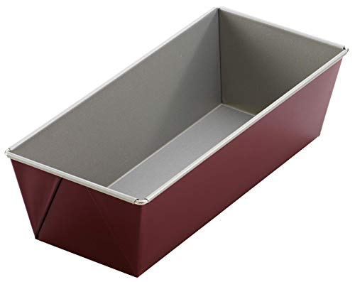 Dr. Oetker Kastenform 25 cm, Backform aus Stahl, Königskuchenform mit zweifarbiger Antihaftbeschichtung (Farbe: grau/rot), Menge: 1 Stück