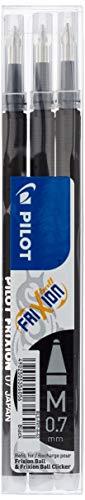 Pilot negro frixion punta redonda borrable bolígrafos recambios para bolígrafos recambio repuesto tinta bls-fr7 (9 repuestos)