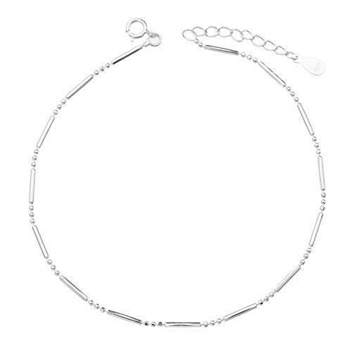 kelistom 925 Sterling Silver Ankle Bracelets for Women Teen Girls, Satellite, Infinity, Star, Heart, Beaded, Round, Layered Minimalist Anklet Foot Jewelry with Extension
