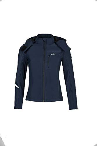 Equiline Damen Softshell Jacke Sandy Blau mit Kapuze Schriftzug, Größe:L