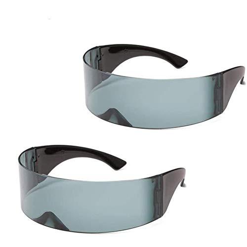 Queta 2 Stück Metallische Raumroboter Sonnenbrillen Schmale Futuristische Soldat Space Alien Robot Sonnenbrille Cosplay Kostüm