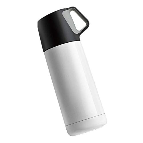 Portable Coffee Travel Mug Thermos Cup Creative Stainless Steel Vacuum Insulated - Wide Mouth With Leak Proof Cap,Men and Women Tea Cup Student Children Cup the Best Gift for Winter (Color : White)