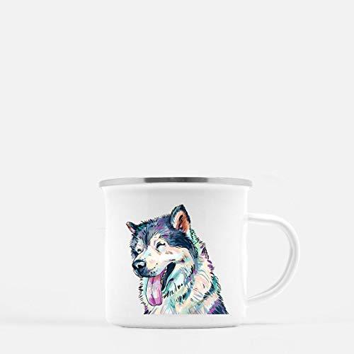 Enamel Mug 10oz Metal Camp Mug Husky Mug Personalized Stainless Steel Enamel Gift For Him Her For Camping Mountains Vanlife Outdoorshome