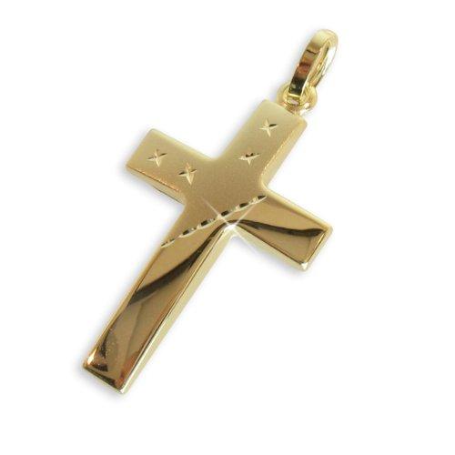 Kreuz Anhänger mit attraktivem Schliff echt 14 Karat Gold 585 30mm (Art. 203056) Gratis Express Gravur
