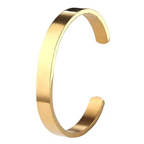 ZystaEdelstahl Armband Männer Frauen Armreif Damen Herren Armspange Silber Gold Schwarz Verstellbar (Gold-Herren)