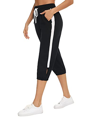 Pantalones Deportivos 100% Algodón para Mujer 3/4 Largo Yoga Running Fitness Jogging Danza Pijama de Interior Largos Chándal Casuale