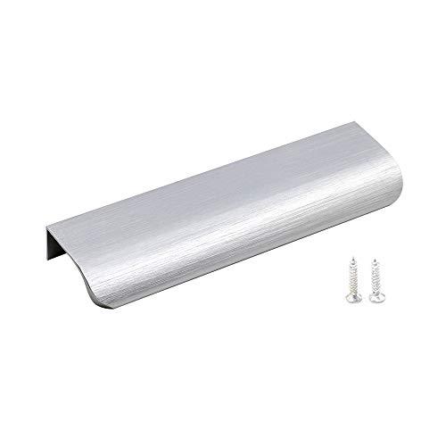 10 Stück 128mm Gebürstet Türgriff Profilgriff Küchengriffe, Goldenwarm Aluminium Geschwungener Schubladengriff Verdeckter Möbelgriffe Schrankgriffe