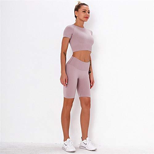 GUOYANGPAI Tops sin Costuras, Leggings Cortos de Cintura Alta, Gym Sportwear Solid Women Running Workout Gym Sets,Morado Claro,M