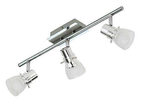 Trango 3-flammig 1007-38 LED Deckenleuchte - Chrom-Optik *FREYA* inkl. 3x E14 LED Leuchtmittel 3.000K warmweiße Lichtfarbe Badleuchte, Flurleuchte, Küchenleuchte, Schwenkbare Deckenlampe, Kronleuchter