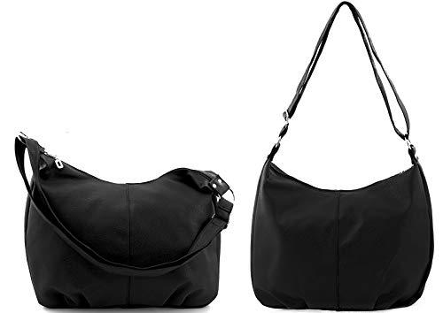 Star-Trends Schwarze Handtasche Damen Schultertasche Shopper Bag Tasche Umhängetasche Henkeltasche Damentasche Schwarz Schultasche Tasche für Schule Studium 45/32/17 cm (Breite*Höhe*Tiefe) (Schwarz)