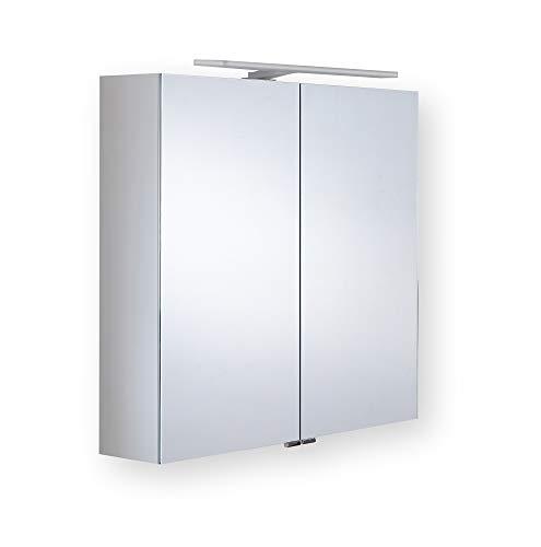 bad finessen Aluminiumspiegelschrank Uranus mit LED-Aufsatzleuchte Schwarze Glasrückwand 700x1000x155mm