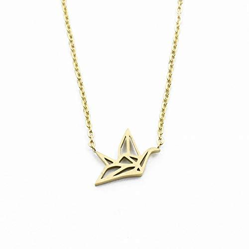 N/A Collar Colgante Collar de grúa de Origami, joyería de Animales, Acero Inoxidable, Color Dorado, Colgante de pájaro de Origami, Collar, Regalos de Dama de Honor Regalo de cumpleaños de Navidad