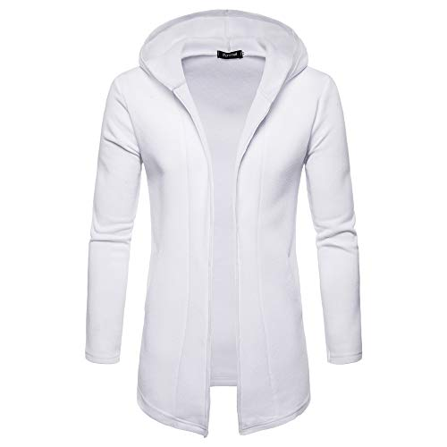 vermers Clearance Fashion Mens Hooded Solid Trench Coat Jacket Long Cardigan Casual Long Sleeve Outwear Clothes(2XL, White)