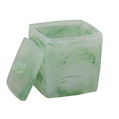 YHYH dispensador de jabón Dispensador de jabón Verde Esmeralda Bomba de jabón Juego de 4 Piezas de baño de Lujo Ligero Bomba de Ducha de Resina Regalo de Cocina (Color : Cotton Swab Box)