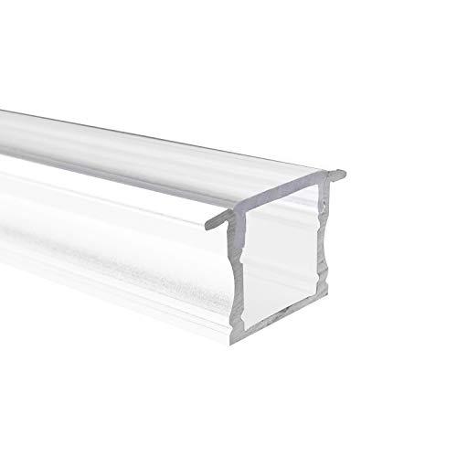 Profilé en aluminium SEMI - 100 cm - Montage en blanc + 100 cm de cache diffuse semi-transparent pour bandes LED - 1 m de bande en aluminium.