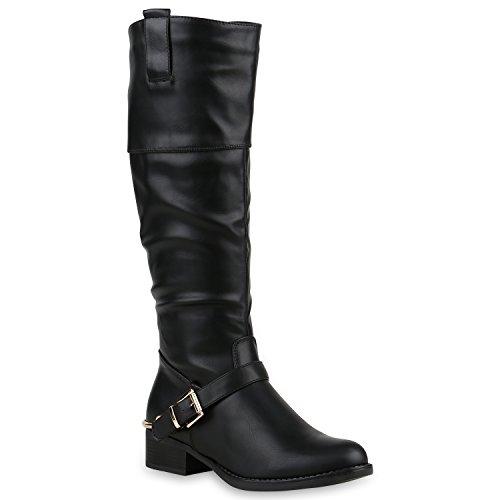 Damen Reiterstiefel Schnallen Metallic Leder-Optik Stiefel Schuhe 123174 Schwarz 36 Flandell