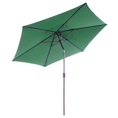 Nexos GM35106 Sonnenschirm Ø 290 cm Stahl Gestell UV Schutz UPF 50+ Gartenschirm Marktschirm mit Kurbel, neigbar Schirmstoff Grün wasserabweisend Höhe 230 cm