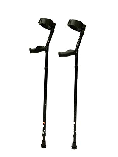 in-Motion Forearm Crutches | Spring Assist | Ergonomic Handles | Articulating Tips | Size Tall (4'9' - 6'3') | Glossy Black