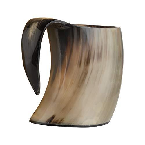 Eleet Original Viking Drinking Horn Mug - 20 Oz Shiny Polished Easy to Clean Resin Base Extra Large...