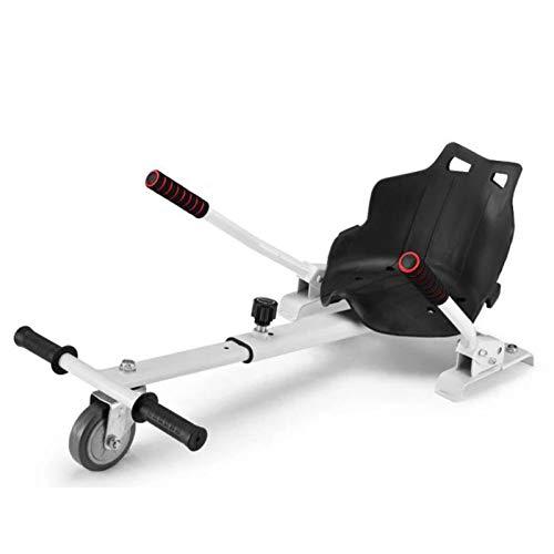 YAHAO Silla para Hoverboard Universal Hoverboard Asiento Kart Ajustable para Patinete Eléctrico Asiento Kart Adaptarse A 6.5 8 10 Pulgadas Hoverboard Go Kart con Asiento para Niños Y Adulto,White