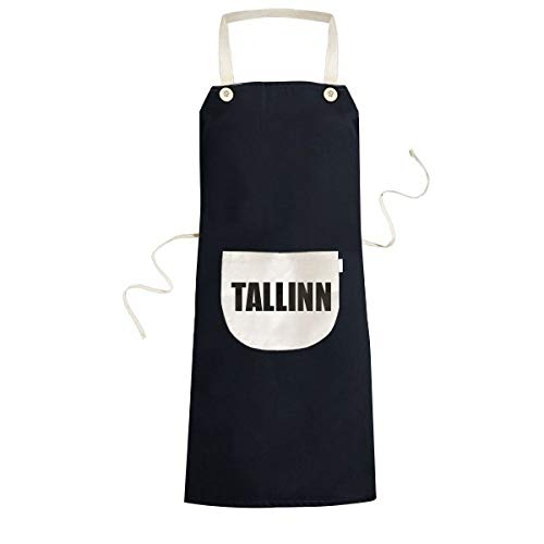 DIYthinker Nombre de la Ciudad de tallin Estonia Cooking Cocina Bolsillo Mujeres Negro Babero Ajustable Delantal Hombres Regalo Chef 70cm x 67cm Negro