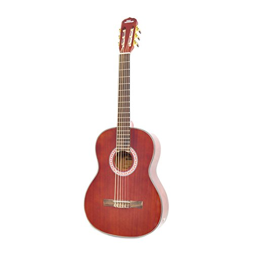 "Cherry Classical Acoustic Electric Guitar - 39.5"" 6 String Mahogany High-Gloss Polished Guitar with Built-in Preamplifier, Case Bag, 6 Nylon Strings, Tuner, Picks, Great for Beginners - Pyle PGA32RBR"