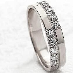 [ジュエリーアイ]Jewelry i クロス ダイヤモンドリング ホワイトゴールドK10 指輪 10金 ピンキーリング 十字架 ギフト 9号