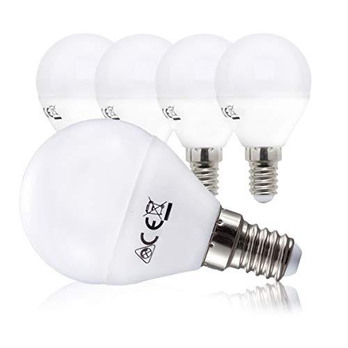 B.K.Licht LED Lampe Energiesparlampe E14 5er Set LED Birne 5x 5 Watt 5 x 470 Lumen warmweiss 3000K Abstrahlwinkel 180° Tropfen