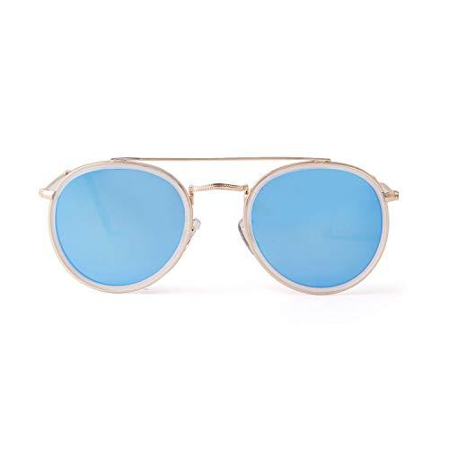 UV400 Gafas de sol redondas de doble puente polarizadas con lentes espejadas, modernas, unisex, para mujeres y hombres. 3647 Azul Marco dorado lente azul espejo S