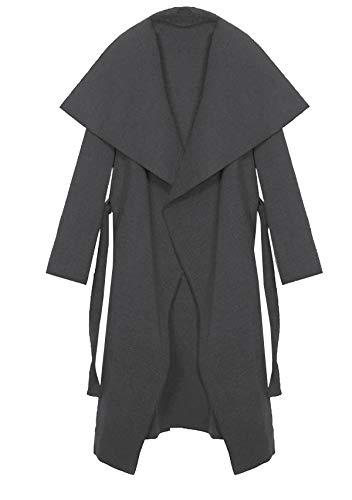 Kendindza Damen Mantel Trenchcoat mit Gürtel OneSize Lang und Kurz (OneSize, Grau Lang)